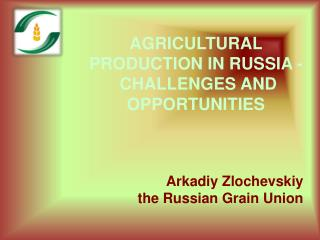 AGRICULTURAL  PRODUCTION IN RUSSIA  -   CHALLENGES AND OPPORTUNITIES