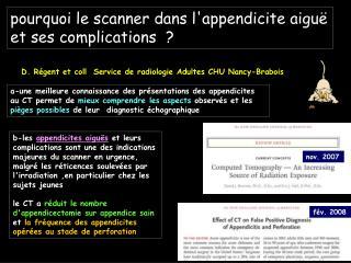 Pourquoi le scanner dans lappendicite aigu  et ses complications
