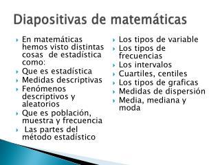 Diapositivas de matemáticas