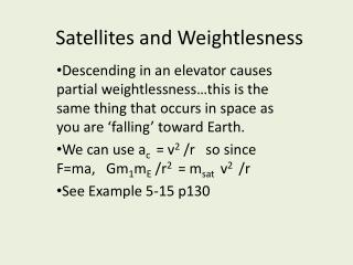 Satellites and  Weightlesness