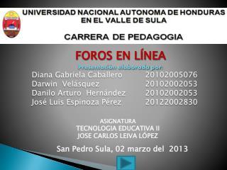FOROS EN LÍNEA Presentación elaborada por: Diana Gabriela Caballero20102005076