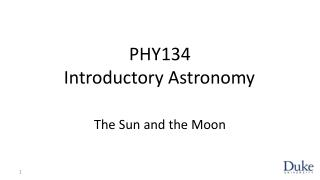 PHY134 Introductory Astronomy