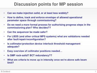 Discussion points for MP session