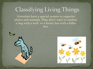 Classifying  Living Things