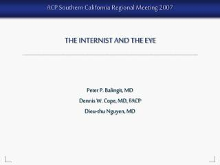 The Internist and the Eye - Part 1