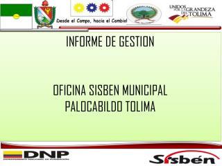 INFORME DE GESTION OFICINA SISBEN MUNICIPAL PALOCABILDO TOLIMA