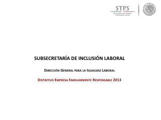 SUBSECRETARÍA DE INCLUSIÓN LABORAL Dirección  General  para la Igualdad Laboral