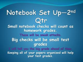 Notebook Set Up—2 nd Qtr