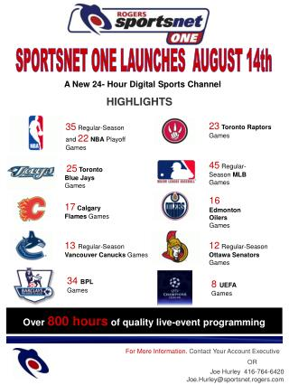 Sportsnet ONE - Fact Sheet