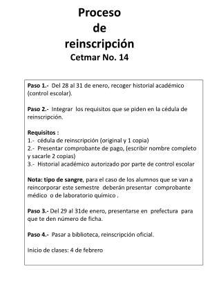 Proceso  de  reinscripción Cetmar  No. 14