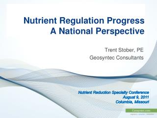 Nutrient Regulation Progress A National Perspective