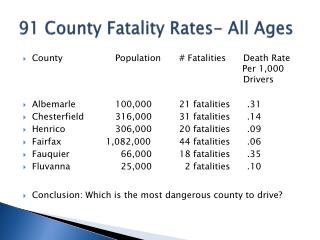 91 County Fatality Rates- All Ages