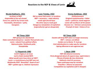Reactions to the NEP & Views of Lenin