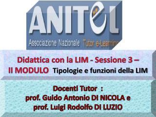 Docenti Tutor  :  prof. Guido Antonio  DI  NICOLA e  prof. Luigi Rodolfo  DI  LUZIO