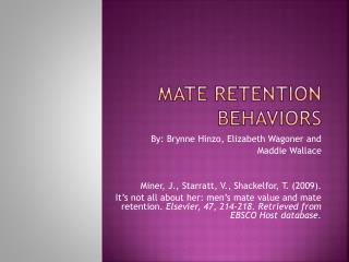 Mate Retention Behaviors
