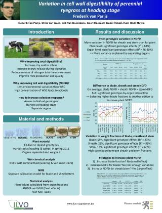 Variation in cell wall digestibility of perennial ryegrass at heading  stage Frederik van Parijs