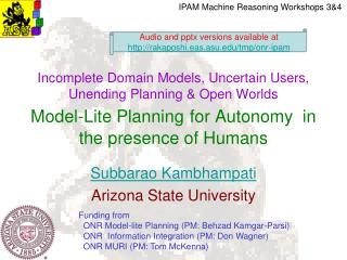 Subbarao Kambhampati Arizona State University