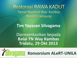 Restorasi RAWA KADUT Taman  Nasional  Way   Kambas Propinsi  Lampung
