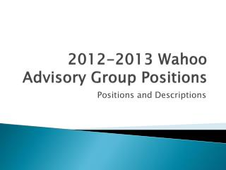 2012-2013 Wahoo Advisory Group Positions