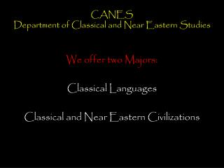 CANES Department of Classical and Near Eastern Studies