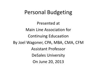 Personal Budgeting