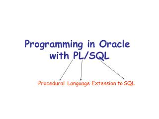 Programming in Oracle  with PL