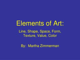 Elements of Art: