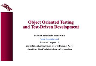 Object Oriented Testing and Test-Driven Development