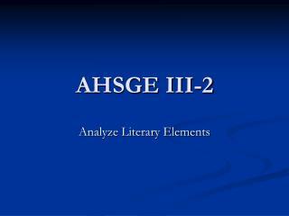 AHSGE III-2