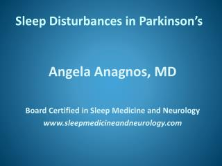 Sleep Disturbances in Parkinson's