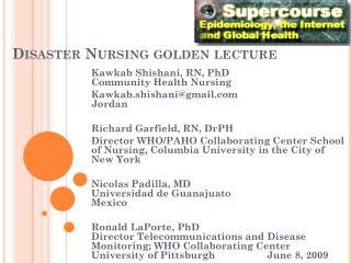 Disaster Nursing golden lecture