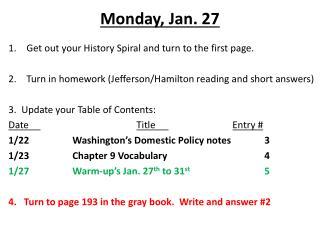 Monday, Jan. 27