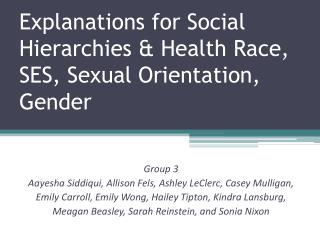 Explanations for Social Hierarchies & Health Race, SES, Sexual Orientation, Gender