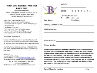 Belton Girls' Basketball 2013-2014 PIRATE PALS *No cost to participate