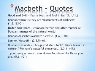 Macbeth - Quotes