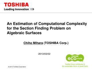 An  Estimation of Computational Complexity for the Section Finding Problem  on  Algebraic Surfaces