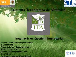 Trabajo : Gestionar lo Ingestionable : la Creatividad Presentado por:  Samara Cortes v.