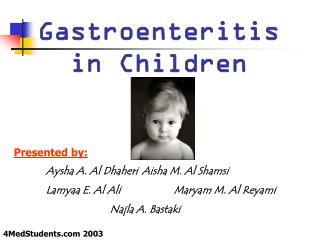 Etiology of Diarrheainfant