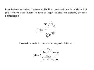Passando a variabili continue nello spazio delle fasi: