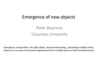 Emergence of new objects