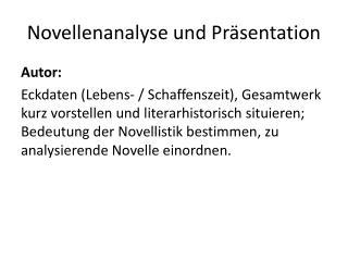 Novellenanalyse und Präsentation