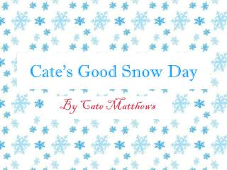 Cate's Good Snow Day