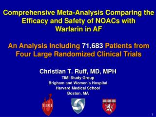 Comprehensive Meta-Analysis Comparing the Efficacy and Safety of NOACs with  Warfarin  in AF