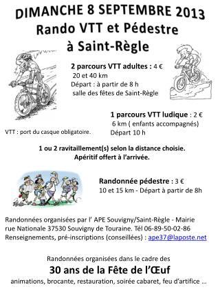 DIMANCHE 8 SEPTEMBRE 2013   Rando  VTT et Pédestre  à Saint-Règle