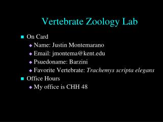 Vertebrate Zoology Lab