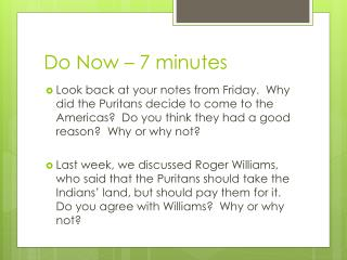 Do  Now – 7 minutes