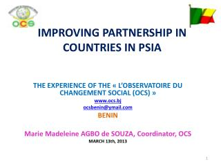 IMPROVING PARTNERSHIP IN COUNTRIES IN PSIA