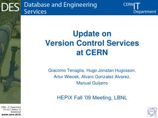 Update on Version Control Services at CERN