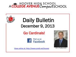 Daily Bulletin December 9, 2013