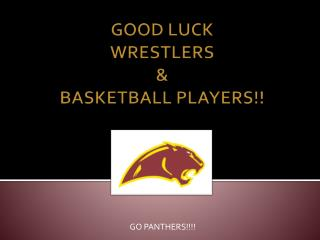 GOOD LUCK  WRESTLERS  &  BASKETBALL PLAYERS!!